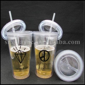 customized printing logo clear Reusable Plastic tube juice Cup with straw 15oz/15oz customized logo hard plastic tube beer cup