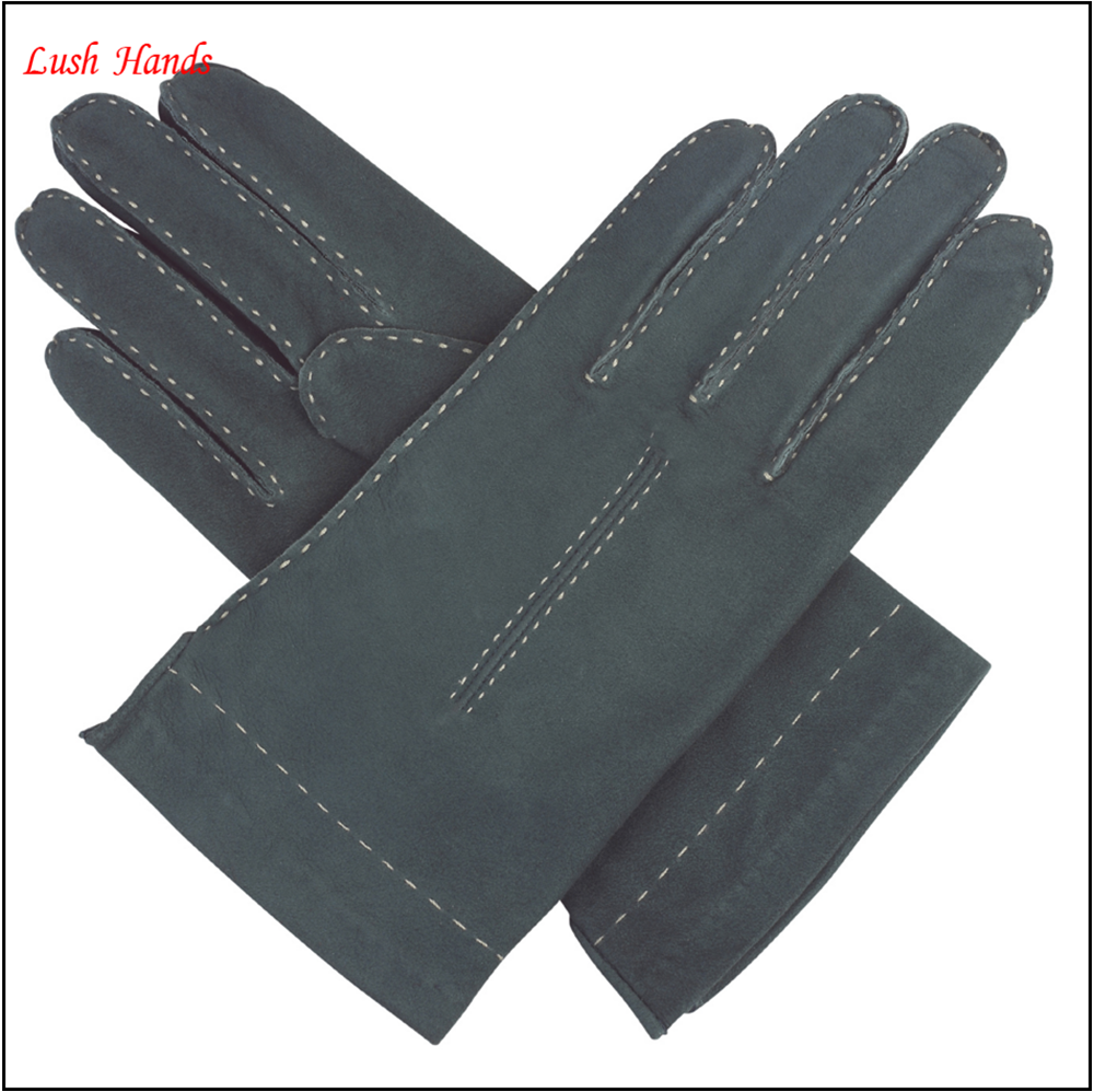 Womens teal soft suede leather gloves-handsewn