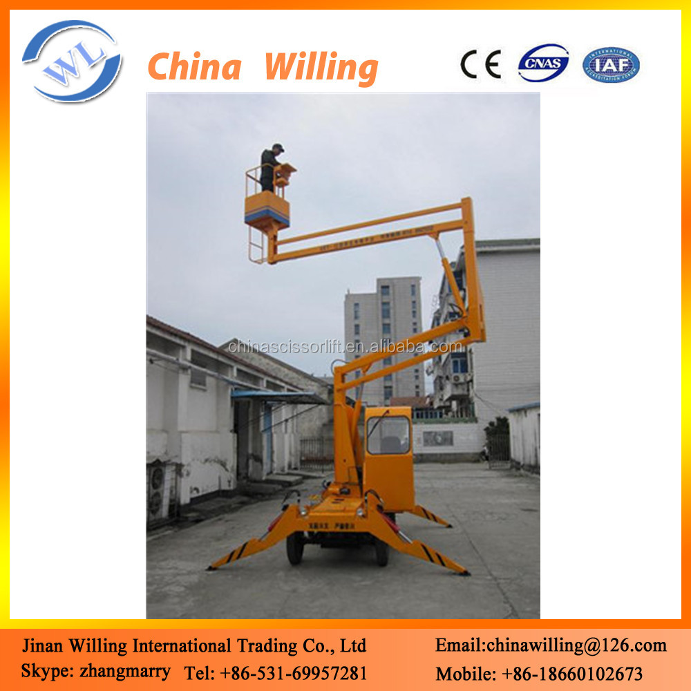 Articulated aerial work platform hydraulic boom lift, cherry pickers for sale