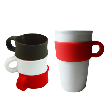 Fashion White Porcelain Ceramic Coffee Cup With Handle Sleeve