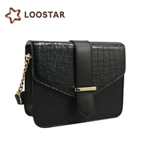 Factory Price Women's Briefcase, Waterproof Leather Bag Black Color with Chain