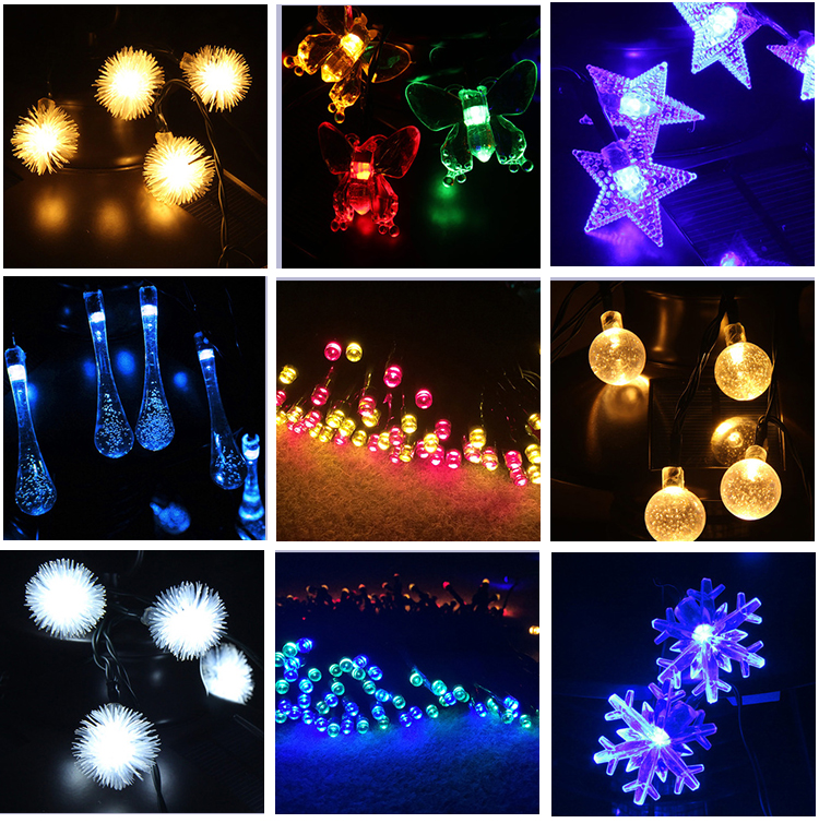 100 LED Solar Light Chain Drie Kleur Solar Kerstverlichting String Bomen Kerstfeest Tuin Outdoor Licht