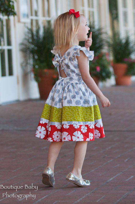 Flutter sleeve baby girls boutique handmade children's dress