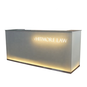 Modern hotel restaurant led lighting glass reception desk