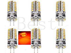Best to Buy® (6-PACK) Brightest 3-Watt G4 LED Bulb 12V AC/DC, 48 SMD 3014 LED, 3W Red Color (Jc10 Bi-pin 20W Replacement)