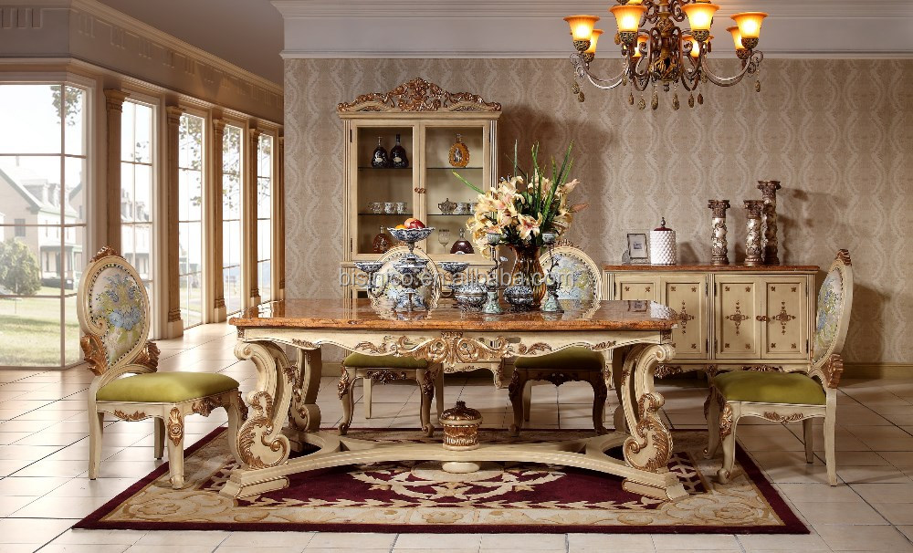 Italian Royal Style Solid Wood Goldleaf Expandable Dining Table SetArabic Palace Golden Room