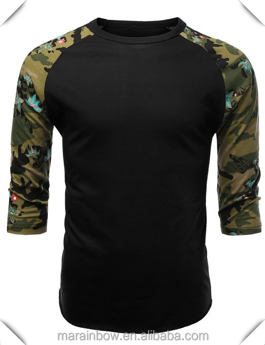 OEM 3/4 raglan Sleeve Tee with Flower Print,100% polyester t shirts for sublimation printing custom made
