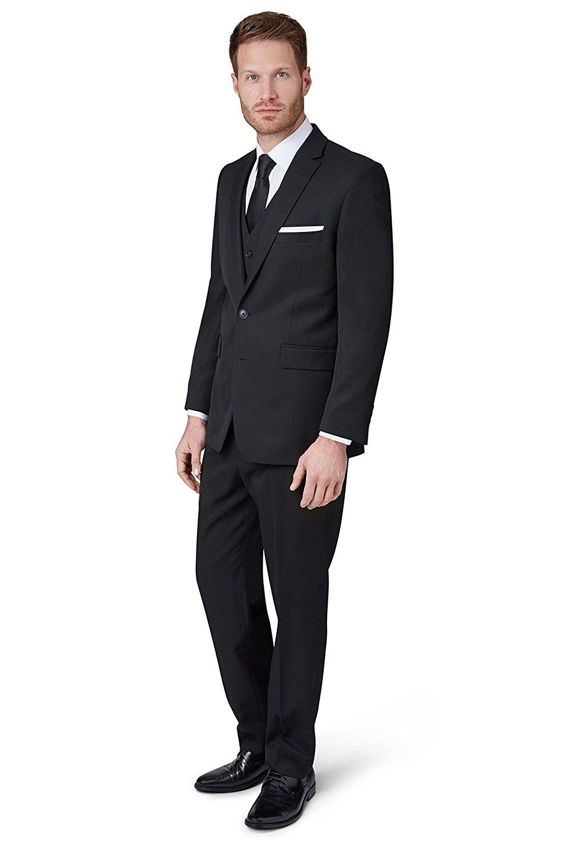 22fd69c5 Get Quotations · Moss Esq. Men's Regular Fit Black Notch Lapel Suit 2 Piece  Suit