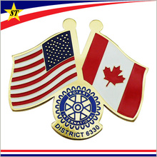 Unique gold canada us friendship world flag rotary pin badge