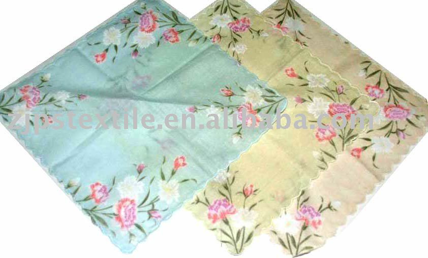 Lady's waved edge flower design cotton handky