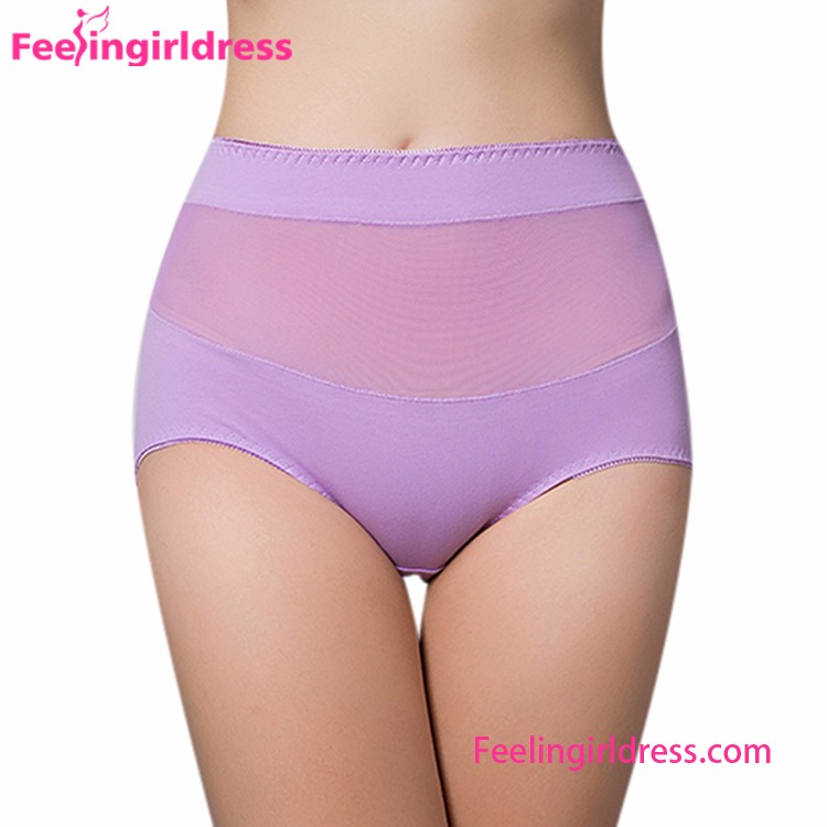 NO MOQ Purple Cotton Wide Waistband Young Ladies Underwear
