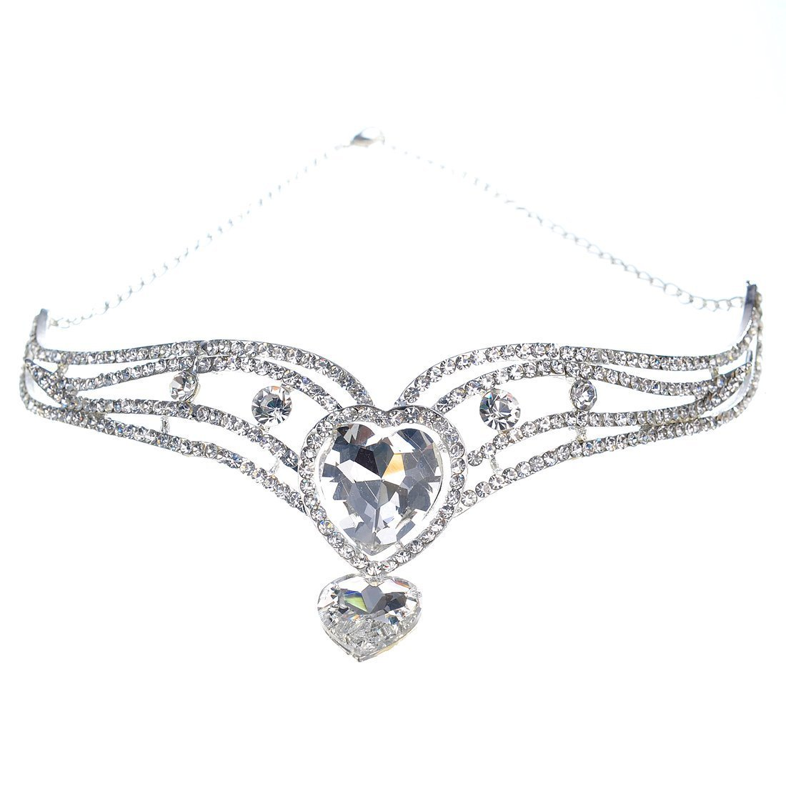 Remedios Luxury Crystal Rhinestone Wedding Headpiece Headband Princess Forehead Chain Tiara