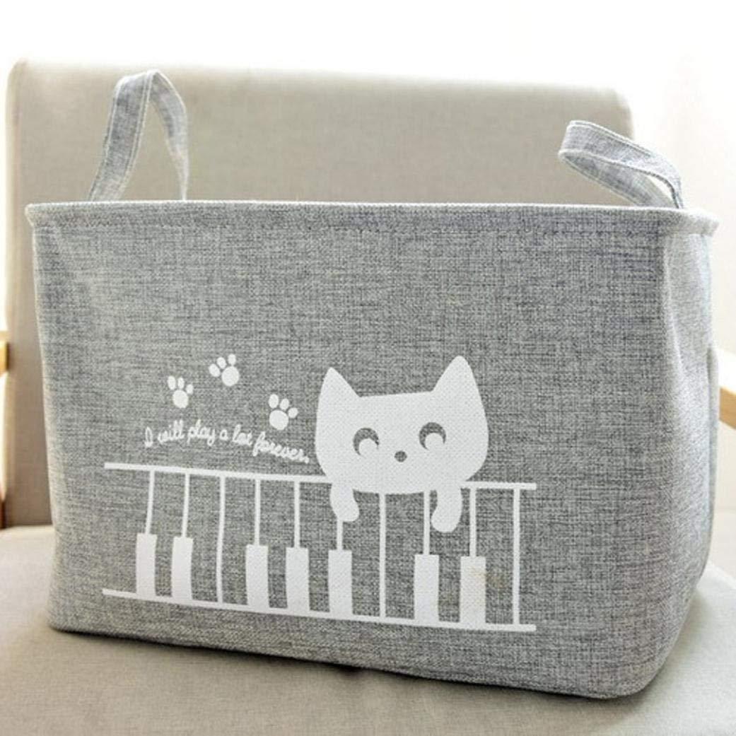 bestpriceam Cotton Linen Waterproof PE Coating Storage Basket Sundries Storage Shopping Box
