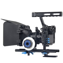GH4/A7S Cage DSLR Camera Rig Professional Follow Focus Matte Box Shoulder Rig with Black Magic camera cage