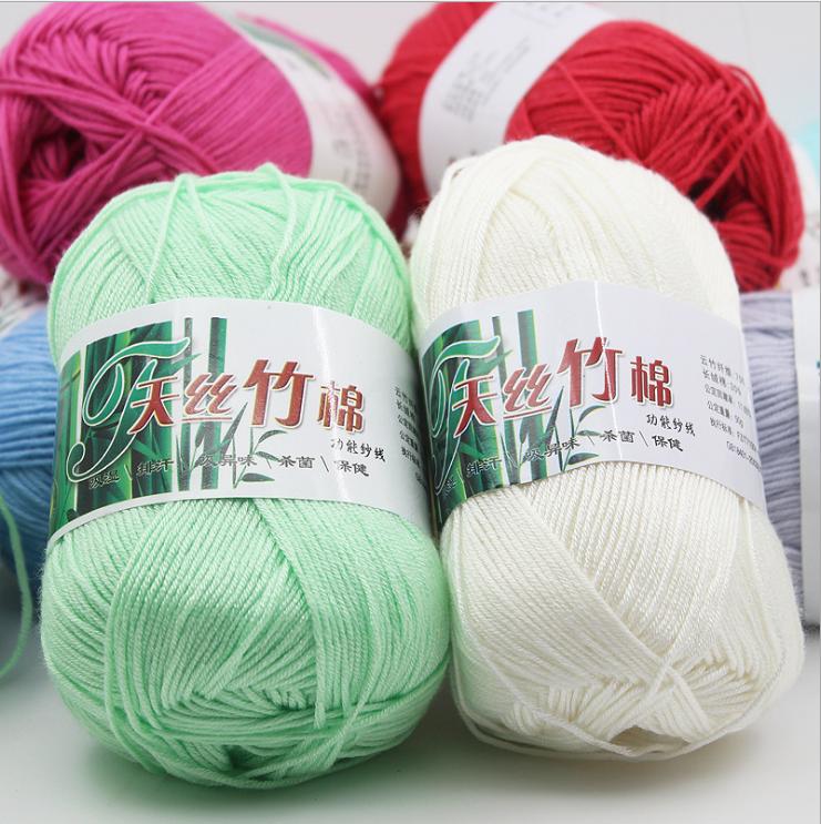 Free samples chinese fancy bamboo cotton yarn manufacturer good sell eco friendly hand knitting 50g 100gbambu bamboo cotton yarn