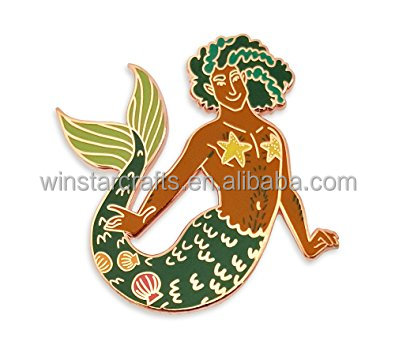 Toys antique metal pin badge and custom metal Mermaid enamel lapel pin