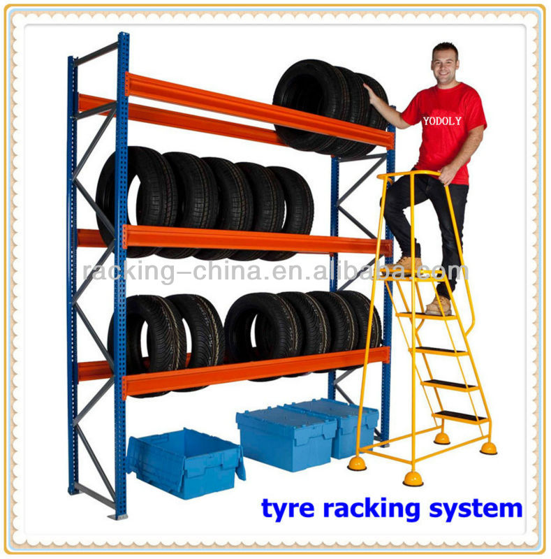 Easy to store and pick up warehouse steel storage tire rack