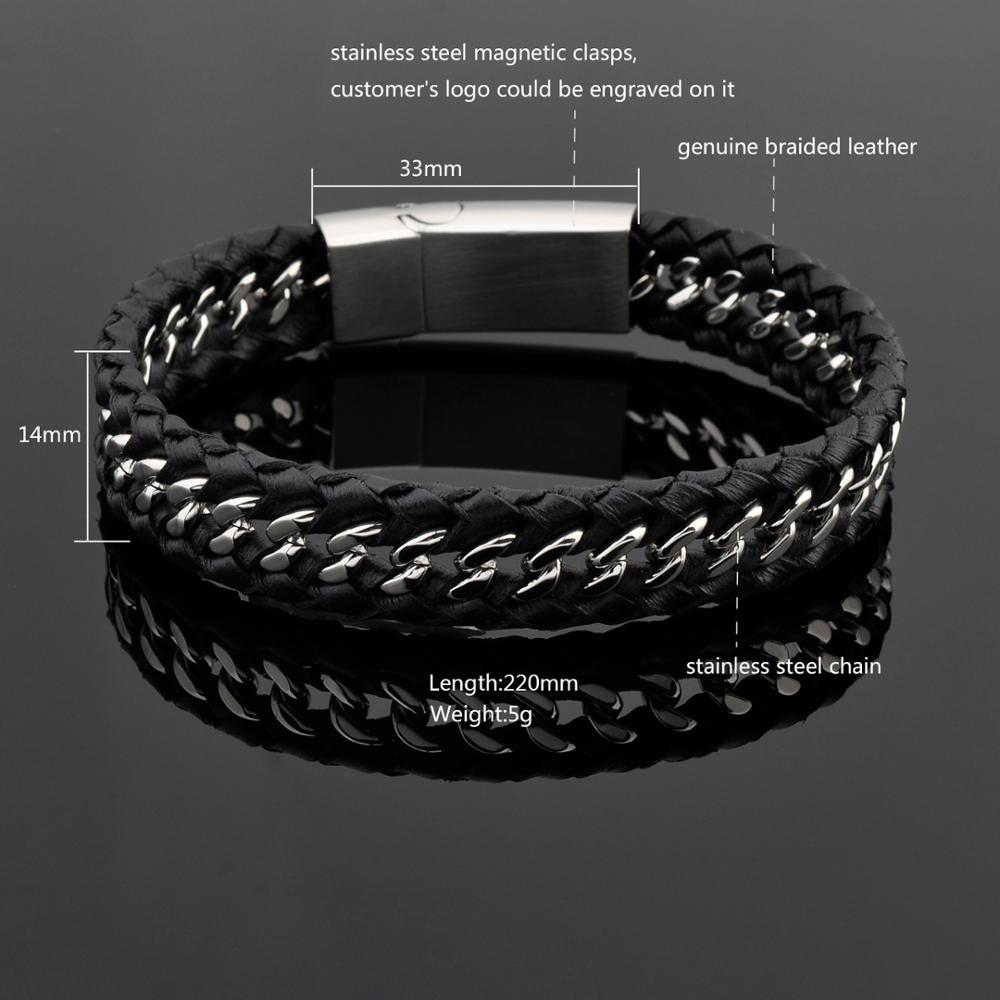 Jewelry Wholesale Men Black Leather Custom Braided Bracelet