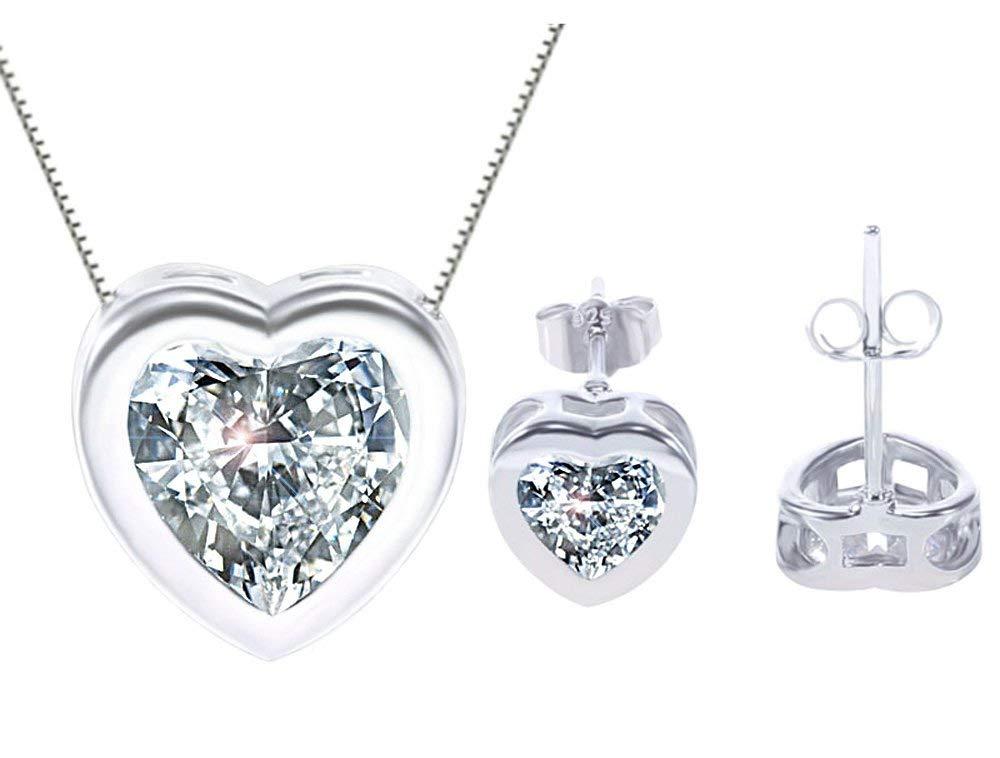 KORPIKUS Crystal Jewel Shiny Silver ' Heart ' Necklace & FREE Earrings Set in Designer Gift Bag!