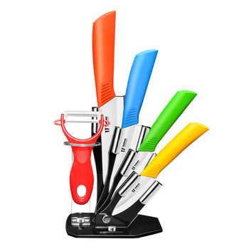 Timhome 6pieces chef knife colorful knife kitchen and Acrylic block kitchen ceramic knife set