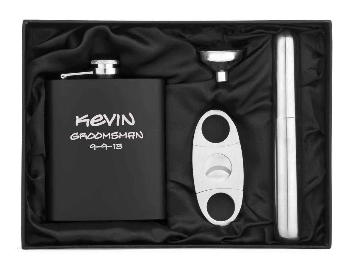 Engraved 7oz Matte Black Stainless Steel Hip Flask, Funnel, Cigar Holder & Cutter Custom Personalized