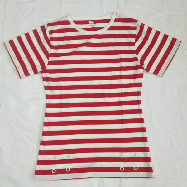 Yarndyed White and Red Stripes Grommets Women T Shirts
