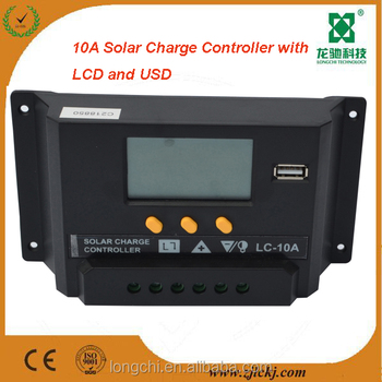12V 24V 10A solar system controller with LCD and USB