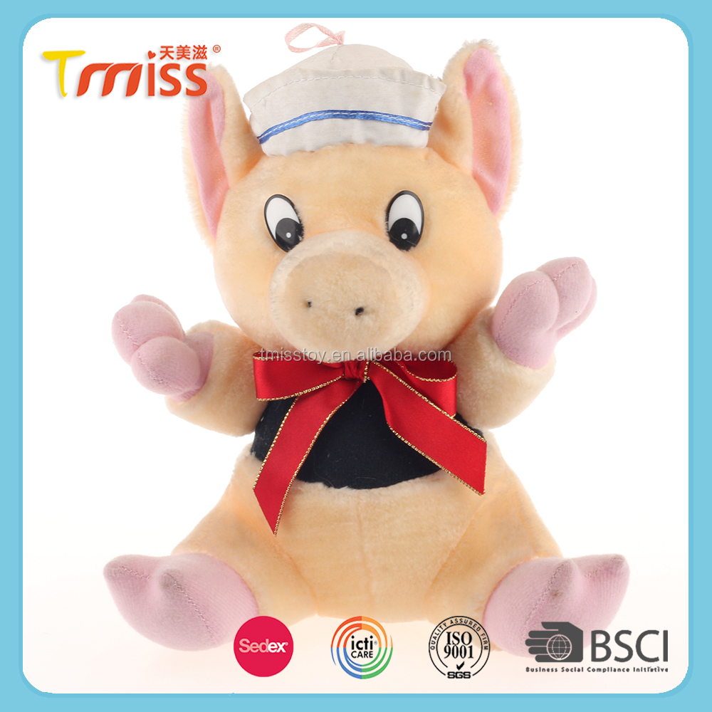Hot sale new design chinese red mini pig plush toy keychain
