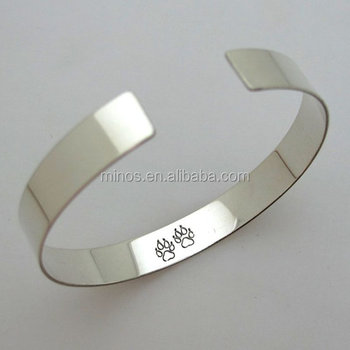 Dog Paw Print Bracelet Personalized Bangle Cuff Whole Stainless Steel New Mens