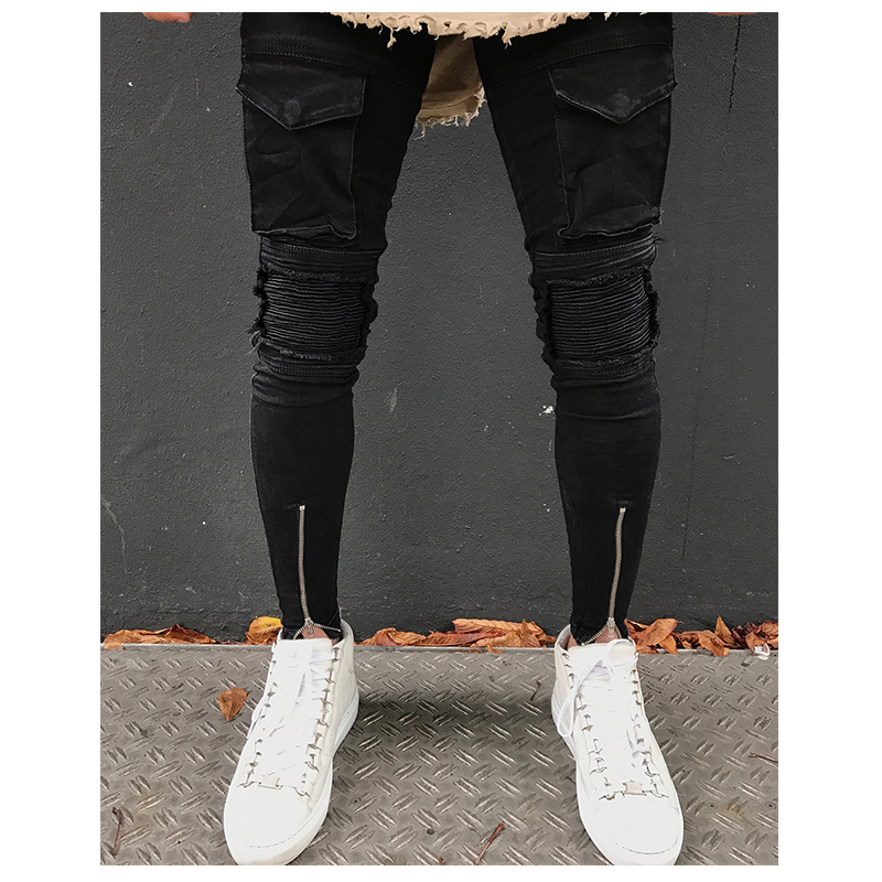 New Mens Latest Design Stretch Black Biker Denim Jeans Pants With Silver Ankle Zippers