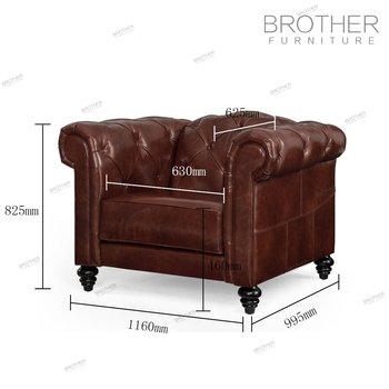 High Back Office And Hotel Brown Leather Velvet Chesterfield Sofa ...
