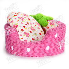 Strawberry Cotton Material Pet Dog Bed, Round Bedding Manufacturer