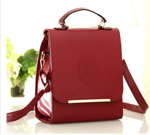 2013 New Arrival Hot sale Faux PU Leather Women Graceful Crown Embossing Pure Color Backpack  Wine Red/Black/Pink/Beige/Purple