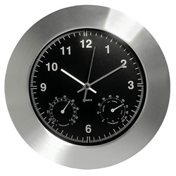 Black weather wall clock, weather station wall clock with temperature and humidity