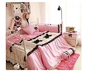 Yuanmu New Design Girls Wedding Bedding Set Cute Pink,Lace Chic Rose Duvet Cover for Princess,Vintage Rural Bed Skirt Floral Lace,4pcs