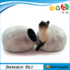 China BSCI Factory Customized Size Egg Dog Bed Comfortable Genuine Wool Felt Pet Bed For Cat