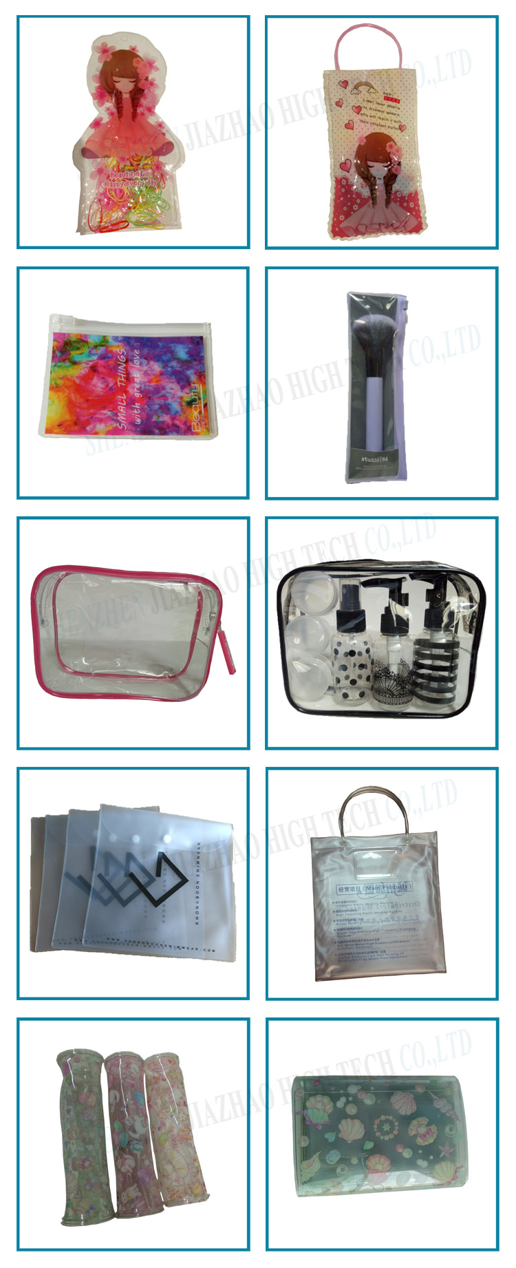 Shenzhen Manufacturer transparent cosmetic bag with gold foil stamping