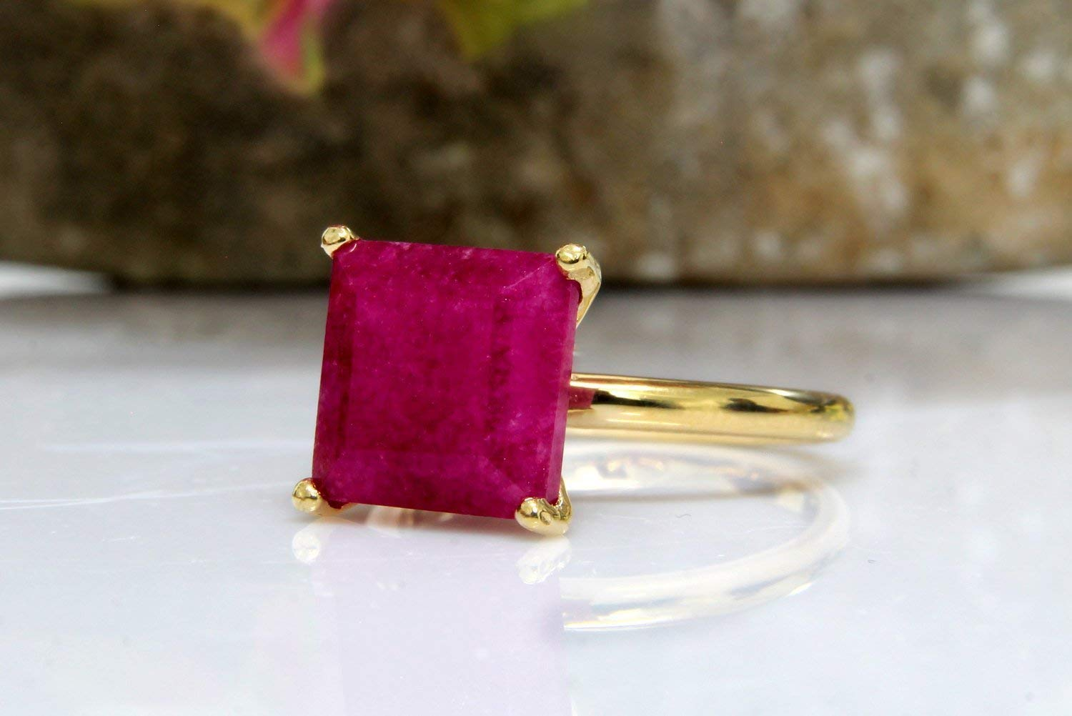 Ruby ring,gold ring,gemstone ring,July birthstone ring,square ring,prong setting ring,delicate stone ring