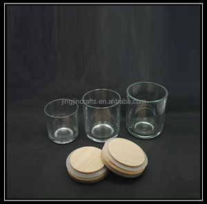 No.5,8,11 matte black glass candle jar/glass candle holder with sealed wooden lid,bamboo lids,stone lids