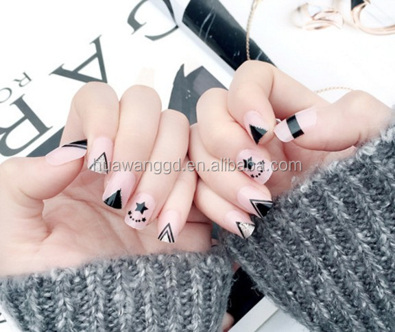New Fashion Nail Tips High Quality Star Artificial Designer Powder Press On Nails
