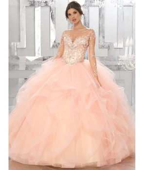 e5816ab3fac 2018 Beaded Lace Applique Tulle Ruffles Ball Gowns Sweet 16 Dresses  Pink Blue Red