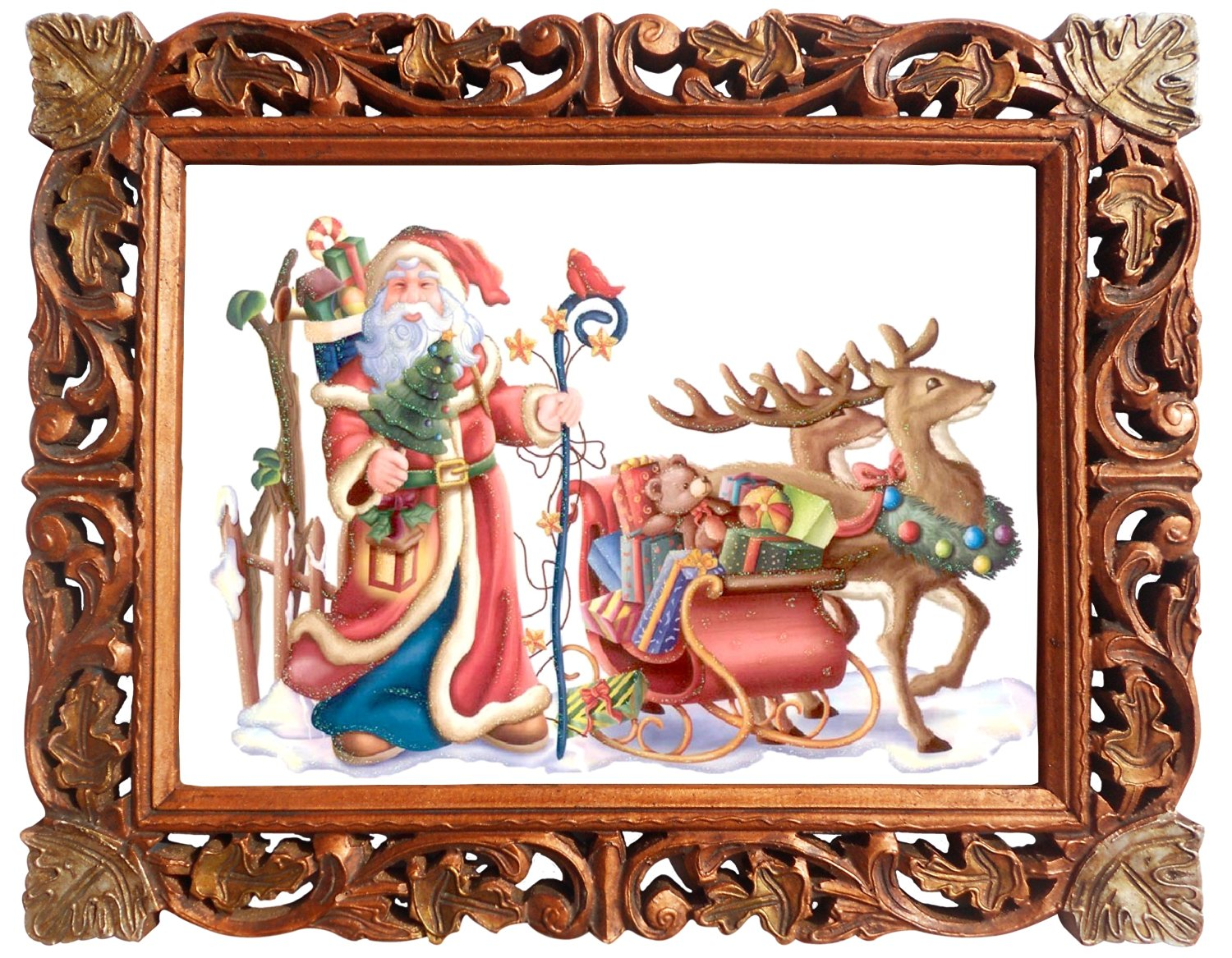 Santa Claus and His Reindeer, Poster Framed in Wood Craft Frame, Indian Decorative Wood Frame