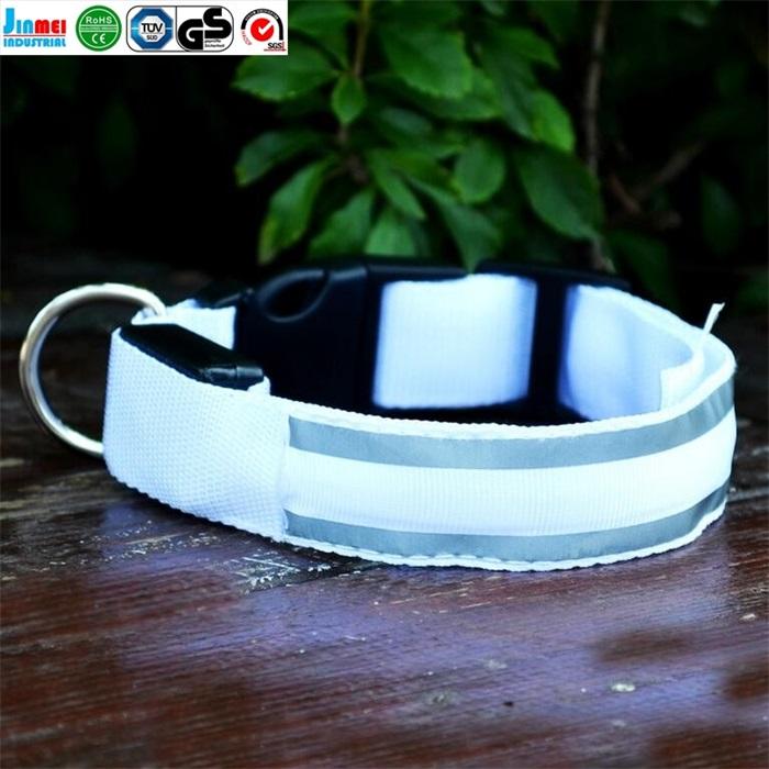 2017 alibaba china OEM pet product luminous type Nylon webbing LED pet dog collar with flashing lights JM-GLX010