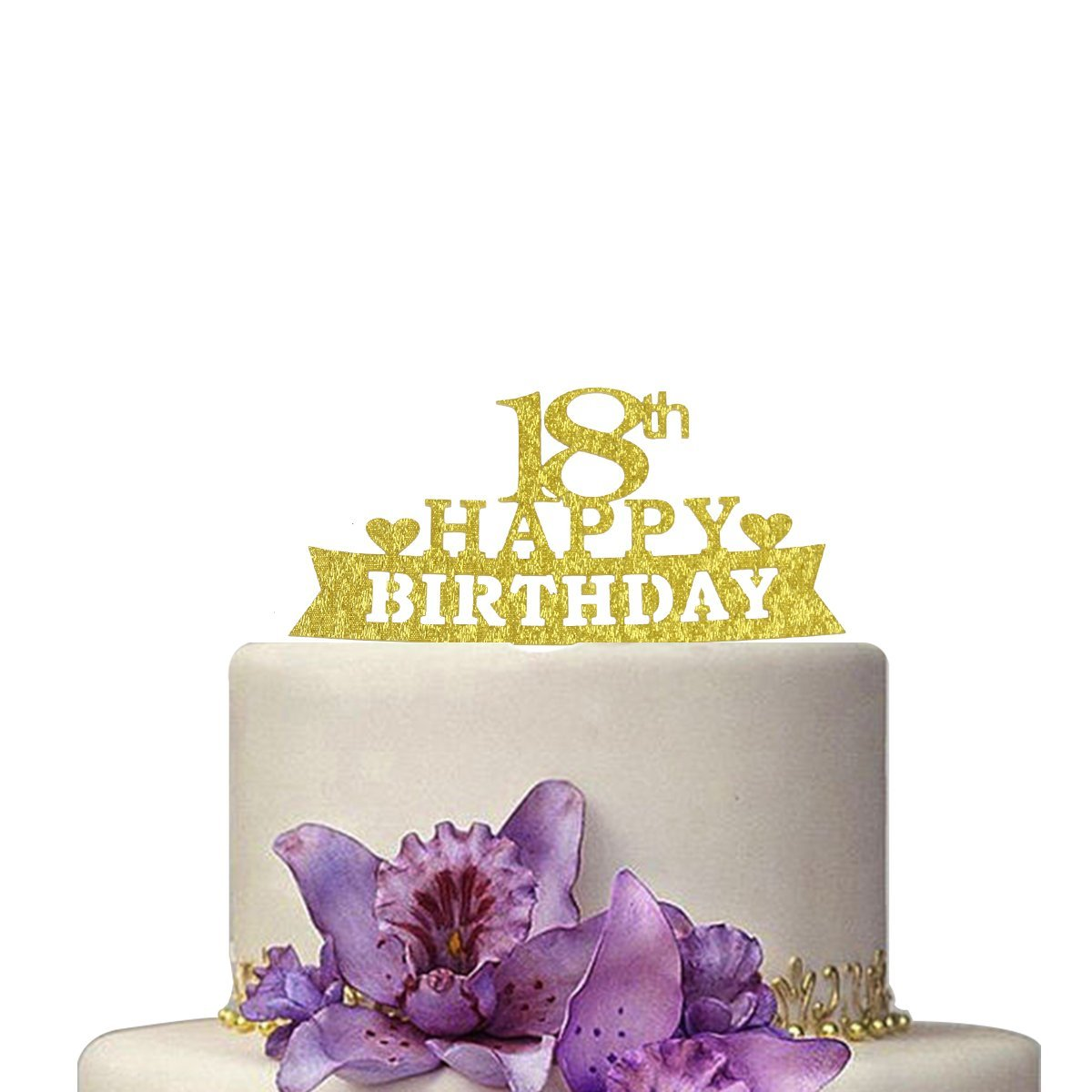 Get Quotations Happy 18th Birthday Cake Topper Shiny Gold Party Decoration Supplies