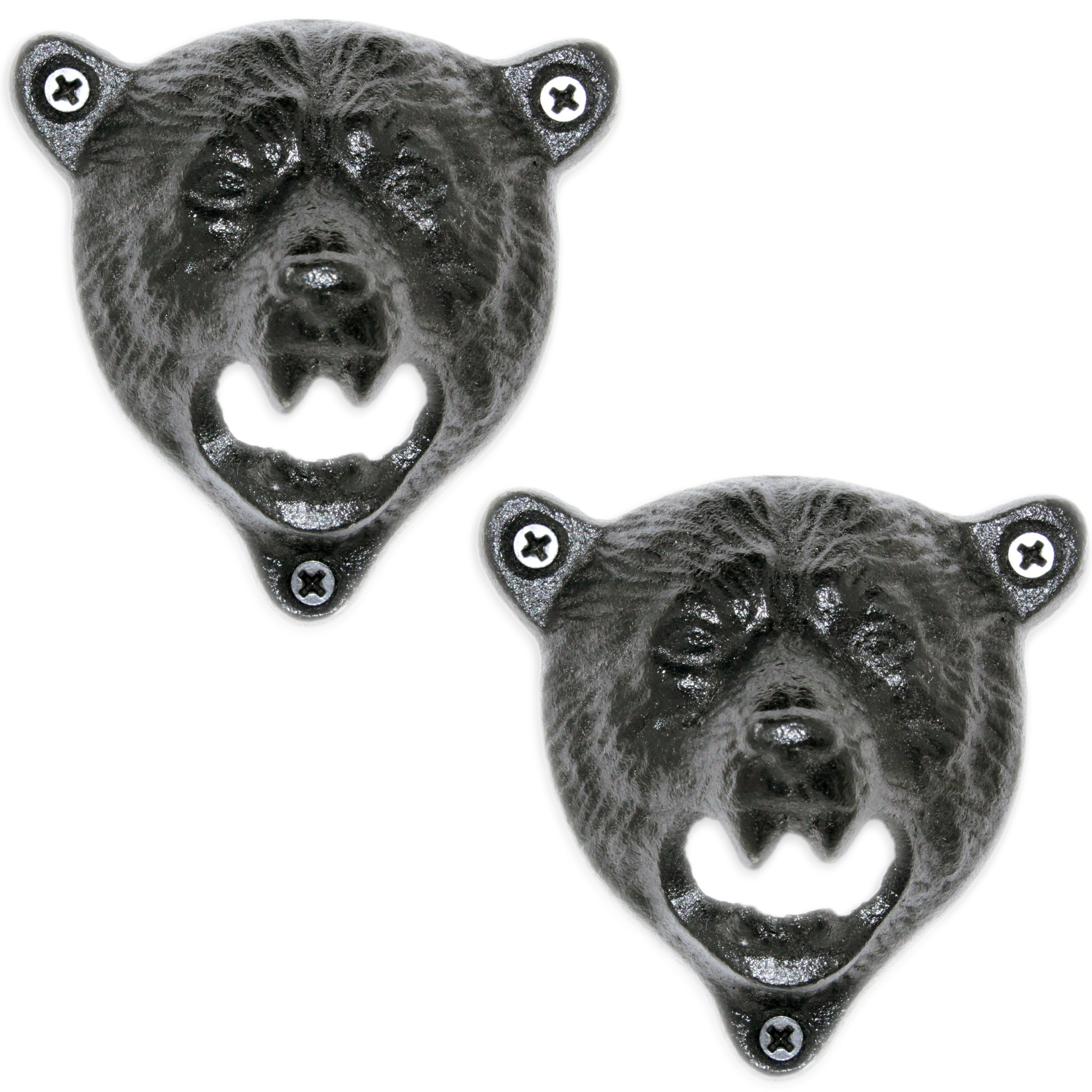 2 Grizzly Bear Wall Mount Beer Bottle Cap Openers | Durable Cast Iron and Black Vintage Finish