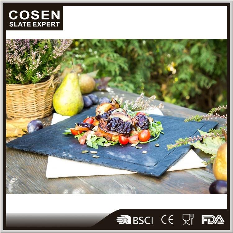 Food natural slate plate Food Service Wood Tray Plate