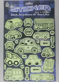 self-adhesive fluorescent glow in dark car wall sticker puffy sticker