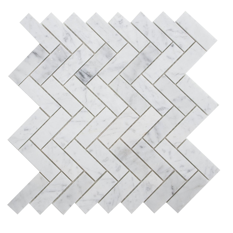"Carrara White Marble Mosaic Tile, CWMM3CRO-H, 1""X3"" Herringbone, 12""X12-1/2""X3/8"", Honed (Sample (6""X6""))"