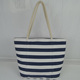 Promotional Summer Tourist Black Wave Stripe Beach Bag For Lady