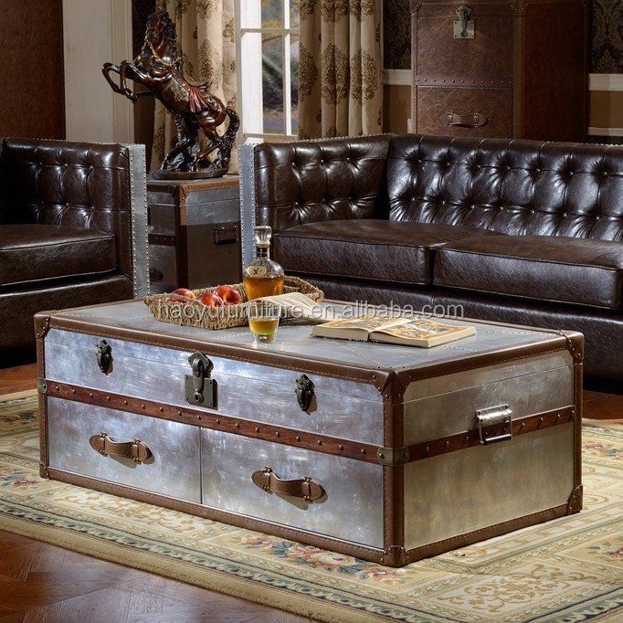 Superior X019 Leather Trunk Coffee Table Antique Trunk Aluminum Trunk Box